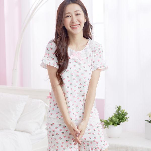 睡衣 - Wonderland 俏皮蘋果衣褲組(白)