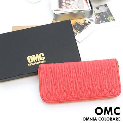OMC - 韓國專櫃立體抓皺質感真皮單拉鍊長夾- 蜜漾紅