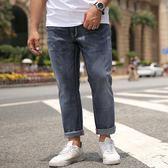 男牛仔褲直筒大碼彈力直筒修身長褲肥佬胖子松緊褲子《印象精品》t731