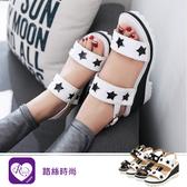 韓系甜美必備單品星星一字環扣圓頭楔型平底涼鞋/2色/35-43碼 (RX1499-C01) iRurus 路絲時尚