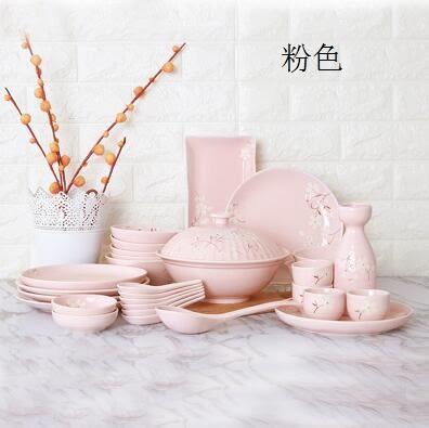 幸福居*【玉泉】 櫻花物語日式餐具套裝碗碟 手工印花 中式陶瓷碗盤家用(30件)