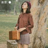迪悠2018新款秋款花瓣袖長袖襯衫女韓版學生寬鬆百搭復古純棉襯衣