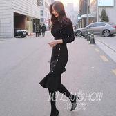 洋裝 韓版修身氣質中長款毛衣裙打底內搭裙包臀針織連身裙 米蘭shoe