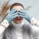 手套 手套女士冬天可愛觸屏ins春學生防風保暖加絨加厚防寒騎車開車【快速出貨八折下殺】