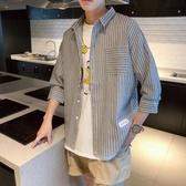 條紋短袖襯衫男士七分袖襯衣韓版潮流休閒上衣服夏季薄款 育心小館