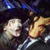 萬聖節動物頭套恐怖成人兒童電鋸驚魂豬八戒面具帶發豬頭面具『男人范』