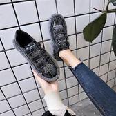 韓版羊羔毛貝殼頭低幫平底鞋學生時尚女鞋運動板鞋潮  伊衫風尚