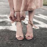 夏季新款2018百搭露趾簡約性感真皮chic一字帶扣細跟高跟鞋涼鞋女夢想巴士