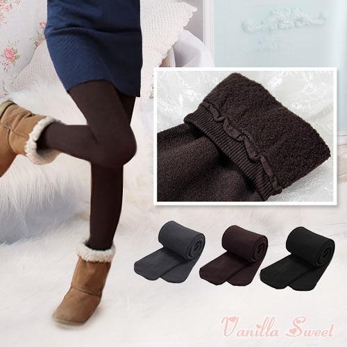 雪地專用350丹 內裏裡刷毛保暖九分/褲襪 極致保暖 纖腿美型 - 香草甜心