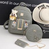 後背包 花朵刺繡雙肩包韓版潮流書包旅行背包《小師妹》f369