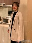 毛呢外套中長修身韓版西裝外套港風寬鬆復古韓國上衣小西服 簡而美