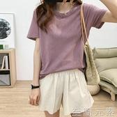 寬鬆圓領短袖T恤女夏韓版百搭顯瘦簡約純色舒適透氣亞麻休閒上衣 至簡元素