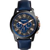 FOSSIL Grant 旗艦三眼計時復刻腕錶/手錶-黑x藍/44mm FS5061