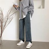 [S-5XL] 新品寬鬆高腰直筒牛仔褲女大碼復古闊腿長褲 - 風尚3C