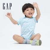 Gap嬰兒 布萊納系列 童趣印花舒適短袖包屁衣 892593-淺藍色