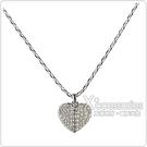 kate spade HEART TO HEART 黑桃LOGO愛心設計鑽鑲飾項鍊(銀x白)