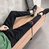 男士春季破洞牛仔褲男 修身九分小腳褲青少年韓版潮流褲子男生休閒