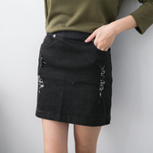 【2%】2%破壞後拉鍊單寧短裙-黑