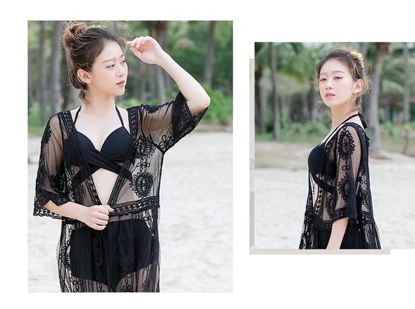 蕾絲泰國度假連衣裙明星同款海邊沙灘長裙仙女神防曬泳衣罩衫TBF10-B.1號公館