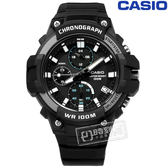 CASIO / MCW-110H-1A / 卡西歐 立體刻度 三眼計時 日期 防水100米 橡膠手錶 黑色 50mm