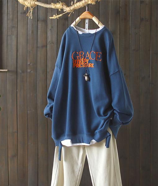 純棉假兩件剪邊圓領衛衣寬鬆長袖上衣/設計家Y8785
