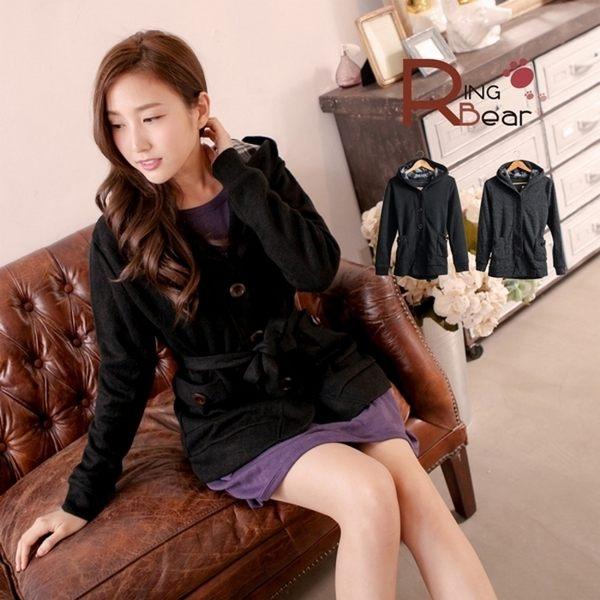 外套-時尚慵懶格紋連帽設計附綁帶針織長版外套(黑.灰S-2L)-J200眼圈熊中大尺碼