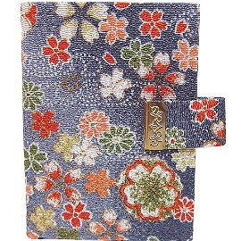 【波克貓哈日網】日本隨身夾◇各式卡片證件夾◇《灰藍底花朵圖案》日本手工製品HAND MADE JAPAN