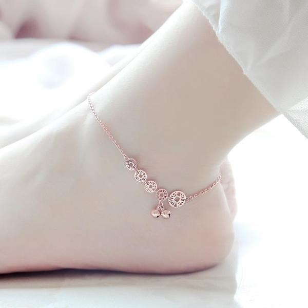 韓版鍍錢幣鈴鐺腳鍊女彩金閨蜜配飾飾品
