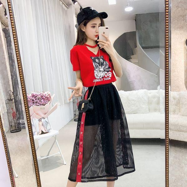 VK旗艦店 韓系時尚俏皮T恤拼接網紗短裙套裝短袖裙裝