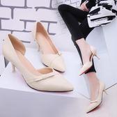 高跟鞋 細跟高跟鞋單鞋細跟尖頭中跟大小碼側空蝴蝶結鞋 巴黎春天