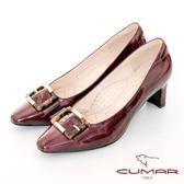 【CUMAR】優雅化身復古雙色小方頭粗跟中跟鞋(酒紅色)