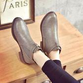 馬丁靴平底低跟圓頭皮帶扣女鞋短靴裸靴 優樂居