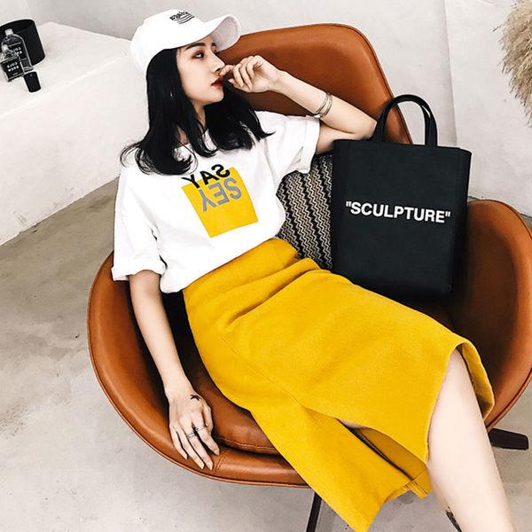 VK旗艦店 韓系字母顯瘦包臀開叉半身裙套裝短袖裙裝