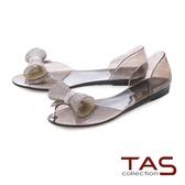TAS 立體造型水鑽魚口後包涼鞋-璀璨黑