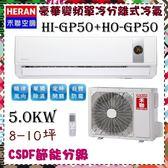 CSPF更節能省電【 禾聯冷氣】5.0KW 8-10坪 一對一 變頻單冷空調《HI-HO-GP50》主機板7年壓縮機10年保固