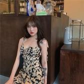 綁帶裙 雛菊碎花連身裙綁帶性感方領桔梗短裙夏季2020新款氣質吊帶裙子女 艾維朵