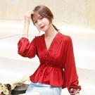 夏季韓版純色小清新V領雪紡衫女新款氣質長袖收腰繫帶上衣潮 伊莎公主