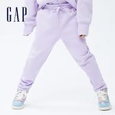 Gap女童 碳素軟磨系列 Logo刷毛長褲 736188-淡紫色