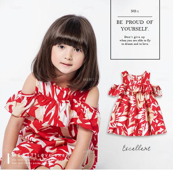 純棉 夏日熱帶風情露肩棉麻洋裝 女童 渡假 挖肩 洋裝 連身裙 連衣裙 舒適 休閒 哎北比童裝