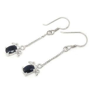 S925 天然藍寶石 純銀 耳飾