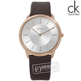 CK / K3M216G6 / 時尚曼哈頓簡約風皮革腕錶 銀x玫瑰金框x深褐 39mm