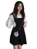 春夏韓版女裝寬松學院風背帶百褶裙連身裙長袖白襯衫套裝兩件套