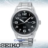 SEIKO 精工手錶專賣店   SNE471P1 太陽能指針男錶 不鏽鋼錶帶 黑色錶面 防水100米 日期/星期顯示