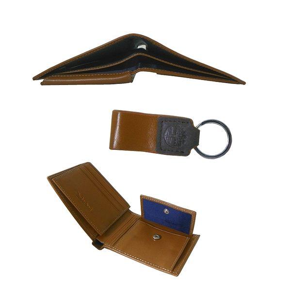 Timberland 咖啡色男性短夾 + 鑰匙圈、精美禮盒組 附原廠紙袋