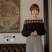 東京著衣-心機美人多色蕾絲領透膚長袖毛衣(182073)