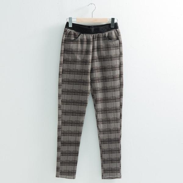 【中大尺碼】MIT黑白格內刷毛長褲