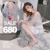 SISI【E8015】凡爾賽古典(長款)透明蕾絲繡花浪漫圓珍珠繡花長袖連身裙+細肩洋裝套裝小禮服