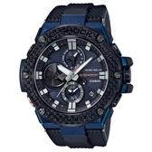 【CASIO】 G-SHOCK 藍寶石太陽能藍芽碳纖維錶圈錶-藍X黑(GST-B100XB-2A)