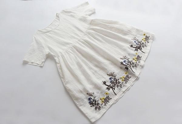 東京奈奈日系森林系花朵刺繡短袖棉麻洋裝[j55086]
