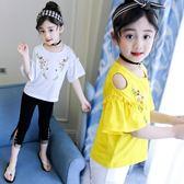 女童短袖新款6半袖T恤7純棉8中大童10歲女孩漏肩上衣洋氣夏季